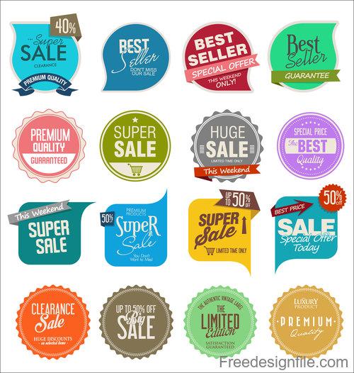 Sale badge and sticker design vector set