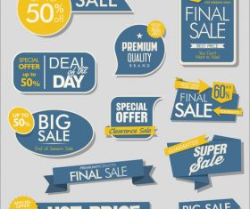 Sale banners with stickers collection vector 01