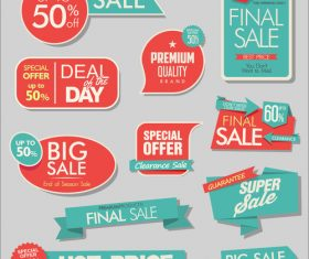 Sale banners with stickers collection vector 02