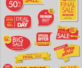 Sale banners with stickers collection vector 03