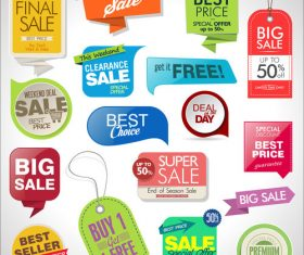 Sale tag with label and sticker design vector 01