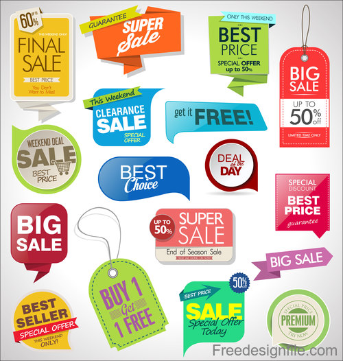 Sale tag with label and sticker design vector 01 free download