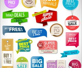 Sale tag with label and sticker design vector 02