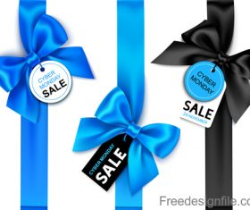 Sale tags with ribbon bows vector