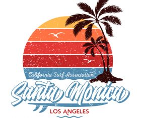Santa Monica Los Angeles Logo design vector