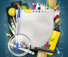 School colorful with blueboard vector background 01