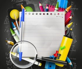 School colorful with blueboard vector background 02