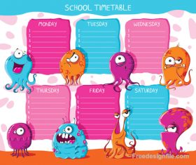 School timetable monsters vector illustration