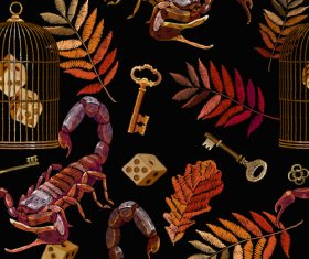 Scorpion embroidery on clothes design vector 03
