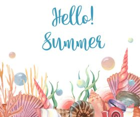 Sea shel with summer background vector 01