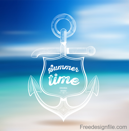 Sea with sky and beach summer blurs background vector