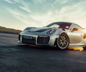 Silver Porsche 911 GT2 RS car Stock Photo 01