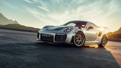 Silver Porsche 911 GT2 RS car Stock Photo 01
