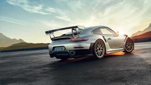 Silver Porsche 911 GT2 RS car Stock Photo 02