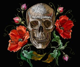 Skull embroidery design vector material 01