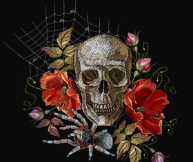 Skull embroidery design vector material 03