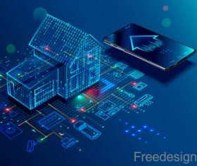 Smart home digital technologies design vector 02