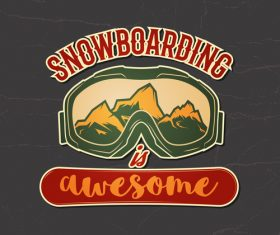 Snowboard badge design vector
