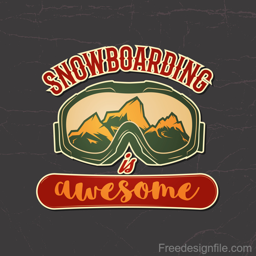 Snowboard badge design vector