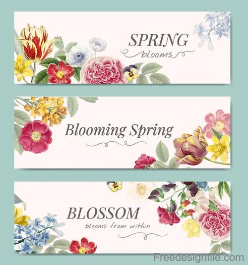 Spring banners with flower banners vector