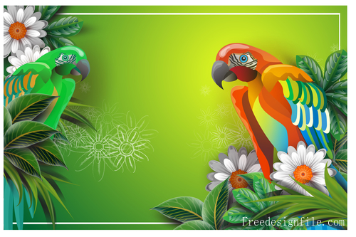 Spring card template with flower vector 04