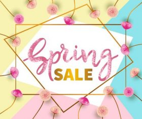 Spring sale design with flower frame vector
