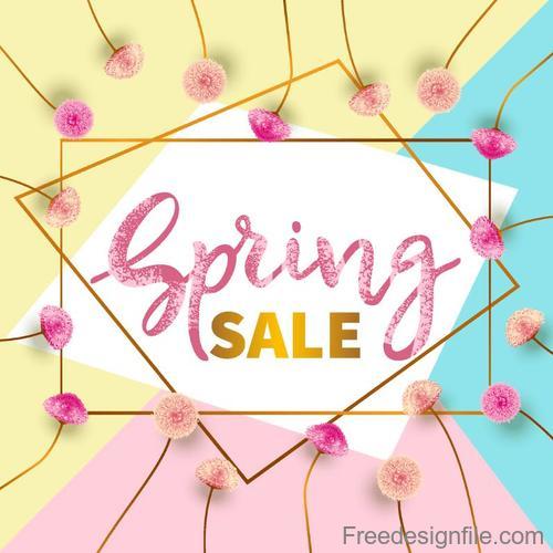 Spring sale design with flower frame vector