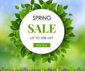 Spring sale design with green leaves design vector