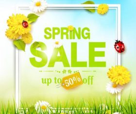 Spring sale design with spring flower vector