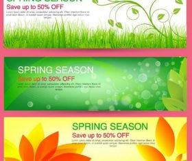 Spring season sale discount banners vector