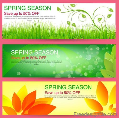 Spring season sale discount banners vector