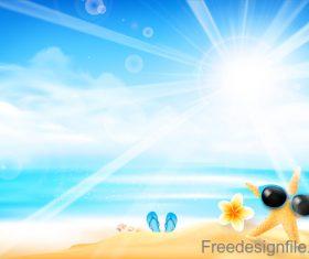 Starfish is wearing sunglasses summer background vector