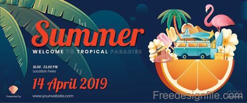 Summer Banner Gift template vector