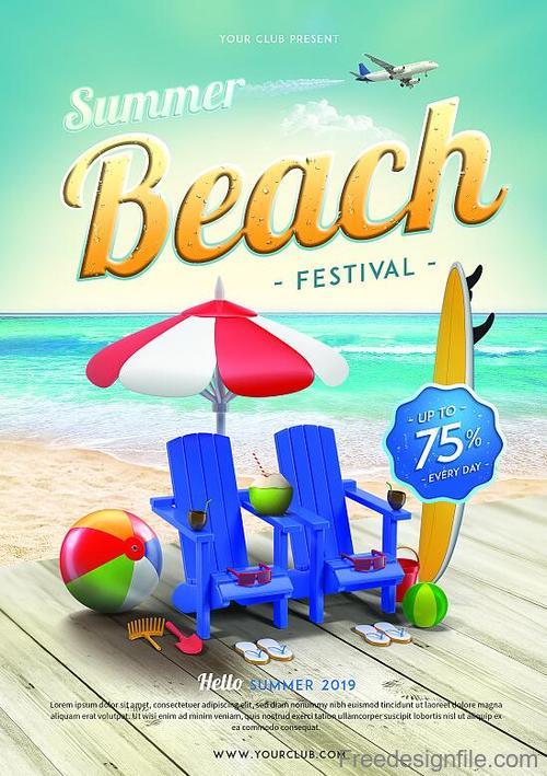 Summer Beach Festival Flyer PSD template