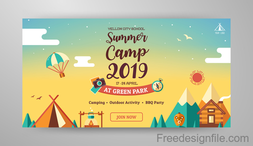 Summer Camp Banner template vector