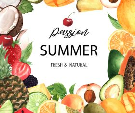 Summer background with fruit frame vector