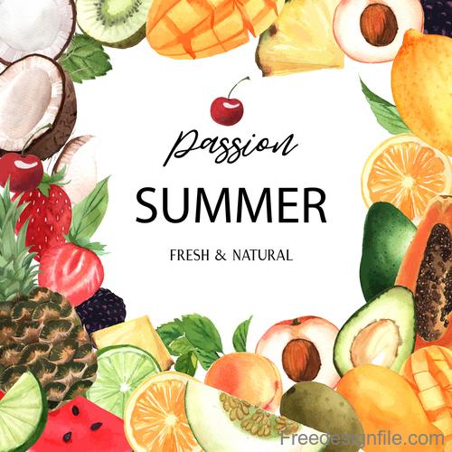 Summer background with fruit frame vector
