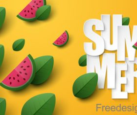 Summer background with leaves and watermelon vectors 01