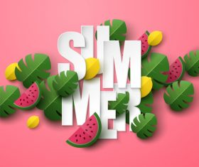 Summer background with leaves and watermelon vectors 02
