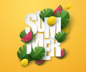Summer background with leaves and watermelon vectors 03