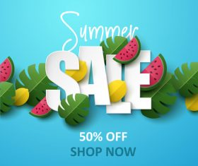 Summer background with leaves and watermelon vectors 04