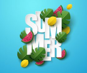 Summer background with leaves and watermelon vectors 05