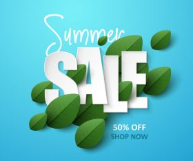 Summer background with leaves design vectors 02