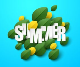 Summer background with leaves design vectors 03