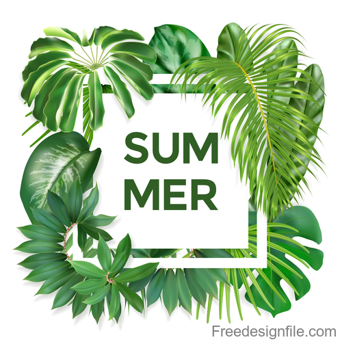 Summer Background With Tropical Leaves Vectors Free Download Pattern with tropical leaves royalty free vector image. summer background with tropical leaves
