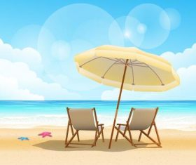 Summer beach and sun umbrella vector