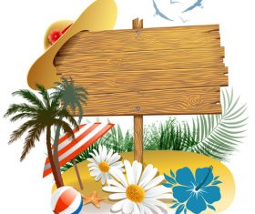 Summer beach wood sign design vector