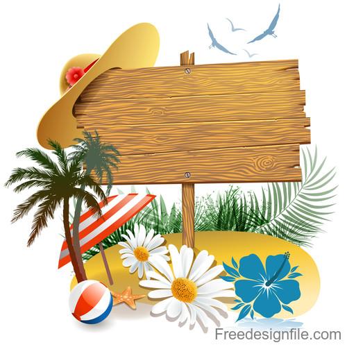 Summer beach wood sign design vector