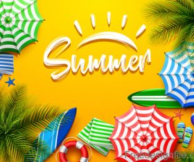 Summer design elements with yellow background vector