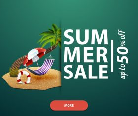 Summer discount sale website template vector 01